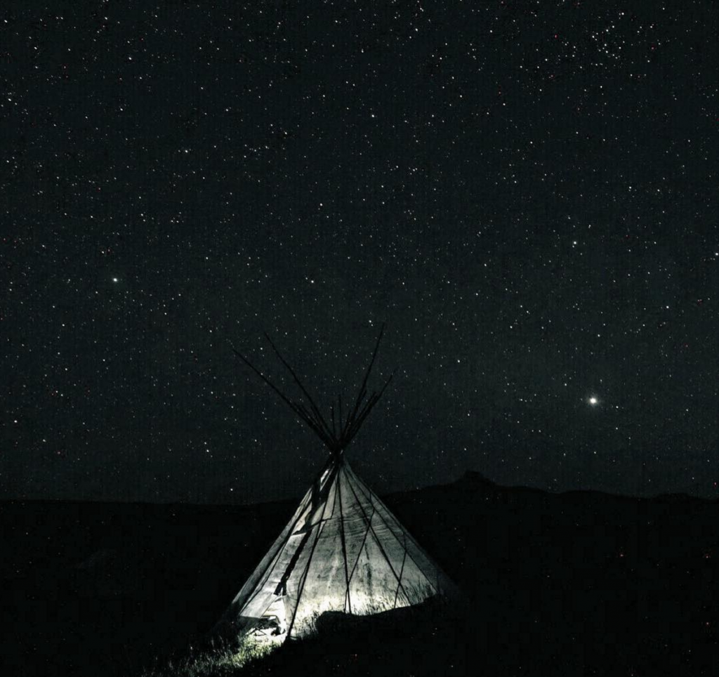 teepee camping night sky stars